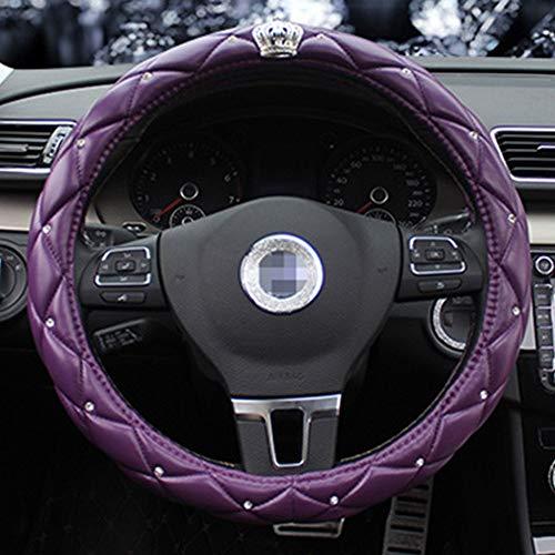 L.W.SURL New Crown Dekoration Auto Lenkradabdeckung Herrenmode Set Strass Lila Lenker Set Auto Accessary Durchmesser 38 cm