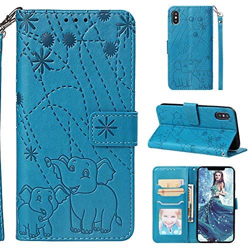 XINYIYI Gaufrage Étui en Cuir Coque pour iPhone X/XS,Cuir Wallet Flip Cover Protection à Rabat Fonction Stand Support et Carte de Crédit Slot Case avec Magnétique- Bleu