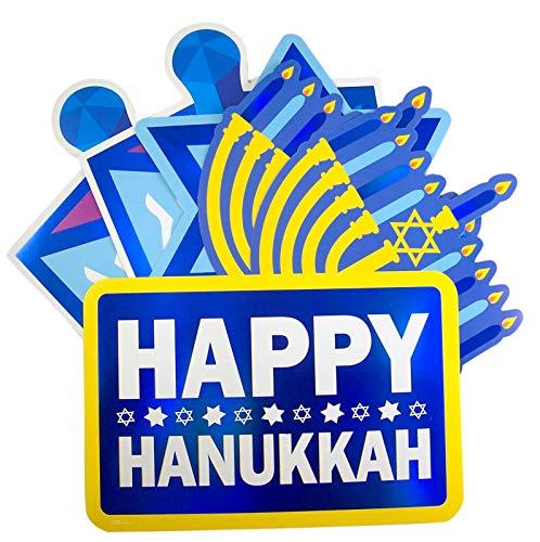 10' Hanukkah Celebration Wall Decorations Assortment of 6 Designs - Menorah, Dreidle, Star of David, and Happy Hanukkah