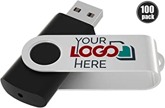 100 Pack Custom 2GB USB 2.0 Thumb Drive Customized Memory Stick Personalized Jump Drive with Your Logo by Possibox