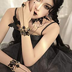 HOWAF Black Lace Choker Gothic Tattoo Choker Necklace Bracelet Set Gothic Necklace Lolita Choker Chain Bead Pendant Necklace Bracelets Rings for Women Girls Halloween Costume Party Accessories #4