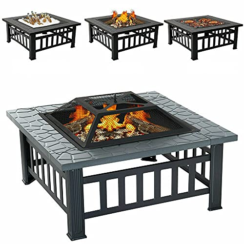 Multibao Large Fire Pit Table with BBQ Grill Shelf, 3 in 1 Square Fire pit for Barbecue, Heater, Ice Pit, Metal Brazier for Garden Patio Outdoor, with Waterproof Cover 81cm X 81cm X 45cm