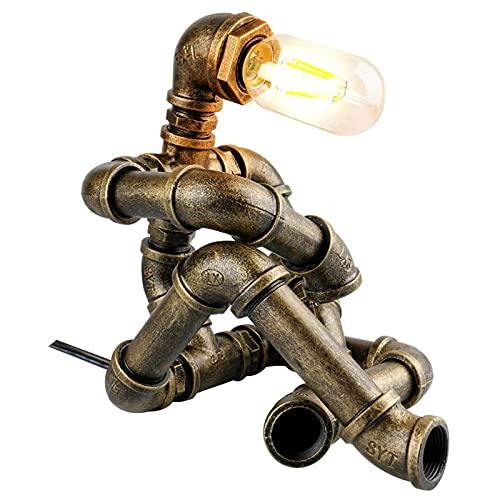MEFKY Lámpara De Mesa Retro Lámpara De Escritorio Estilo Robot Creativo Lámpara De Tubería De Agua Industrial Vintage para Restaurante Bar Cafetería