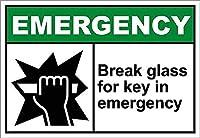 緊急事態でのキー用ガラスの破損ブリキ看板ヴィンテージ錫のサイン警告注意サインートポスター安全標識警告装飾金属安全サイン面白いの個性情報サイン金属板鉄の絵表示パネル