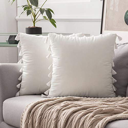 MIULEE 2er Set Samt Kissenbezug Quaste Kissenhülle Dekorative Tassel Dekokissen mit Verstecktem Reißverschluss Sofa Schlafzimmer 20 x 20 Inch 50 x 50 cm Reines Weiß
