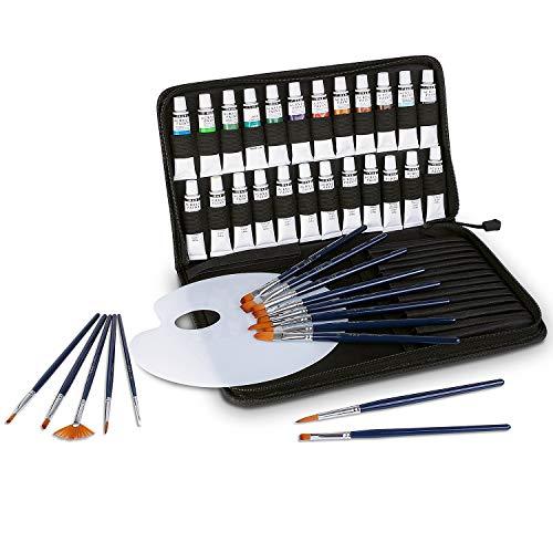 FIXKIT Set de Peinture à l'huile, 40 Pieces Paint Brushes Set with 24 Tubes de Peinture,15 Pinceaux et 1 Palette de Mélange,Pour Artistes, Débutants et Amateurs de Bricolage