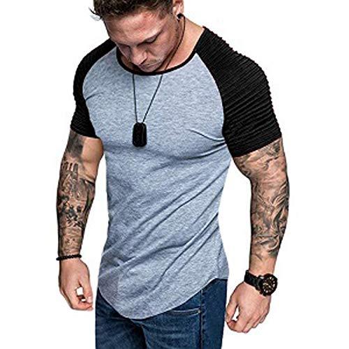 Camiseta de manga larga para hombre, corte ajustado, cuello redondo, informal, deportiva,...