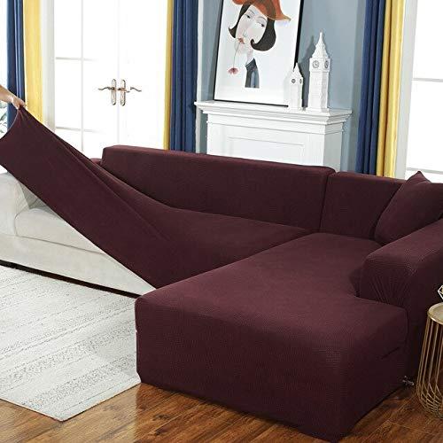 Funda de sofá elástica de Felpa Fabirc, Fundas de sofá en Forma de L sólidas, Fundas de Terciopelo para Sala de Estar, Funda de sofá elástica A7, 2 plazas