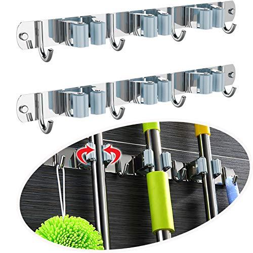 LISM 2 Stück Edelstahl Besenhalter Gerätehalter Wandhalterung Mop Halter mit 3 Schlitze und 4 Haken für Zuhause Besenhalterung Wand für Zuhause Küche Badezimmer
