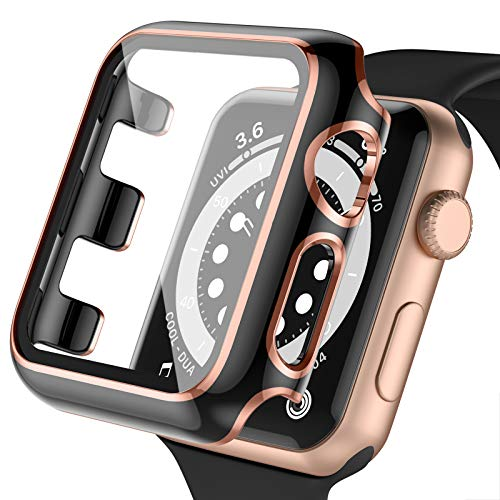Upeak Screen Protector Compatible with Apple Watch 38mm Series 3/2/1, PC Case with Built in Tempered Glass Full Coverage Protective Bumper for iwatch, 38MM-Black/Rosegold Edge
