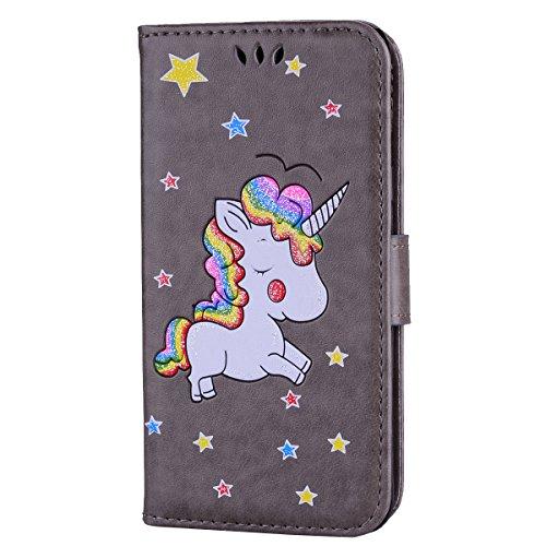 Ailisi Cover Samsung Galaxy A5 2016, Unicorno Bling Glitter Flip Cover Custodia Caso Libro Pelle PU e TPU Silicone con Funzione Supporto Chiusura Magnetica Portafoglio - Grigio