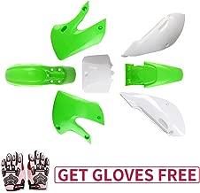 KLX110 Plastic Kit Fairing fender Kit for Kawasaki KX60 Suziki DRZ110 Pit Dirt Bike, Green & White, Pink Gloves