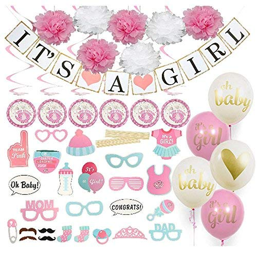 Baby Shower Decorations: Its a Girl | Decorations | Tissue Pom Poms | Baby Shower Balloons | Gold, Pink | Baby Elephant | Baby Shower Games | Baby Girl | For Girl | By LiveHappySellers