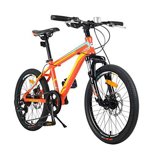 YEOGNED 20 inch Girls/Boys Aluminum Frame Mountain Bike with Disc Brake,Orange/Yellow Bike with Kickstand for Kids,Age 8-14(Orange/Aluminum)