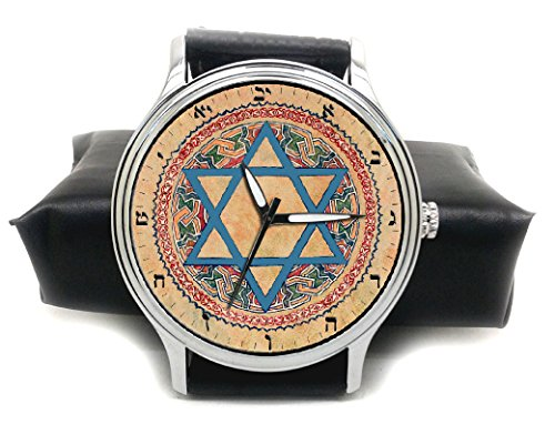 Hermoso reloj de pulsera de latón macizo con diseño de arte tradicional judaico