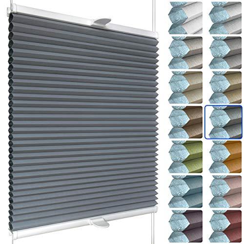 SchattenFreude Waben-Plissee nach Maß für Fenster & Tür | 100% verdunkelnd/Blackout | Zum Anschrauben in der Glasleiste | Anthrazit (Weiße Rückseite), Breite: 90-110cm x Höhe: 100-150cm