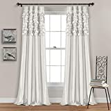 Lush Decor Circle Dream - Cortinas para Ventana, Blanco, 84 Inches, 1