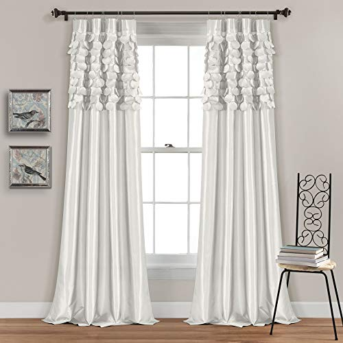 "Lush Decor White Circle Dream Window Curtains Panel Set for Living, Dining Room, Bedroom (Pair), 84"" x 54, 84"" x 54"""