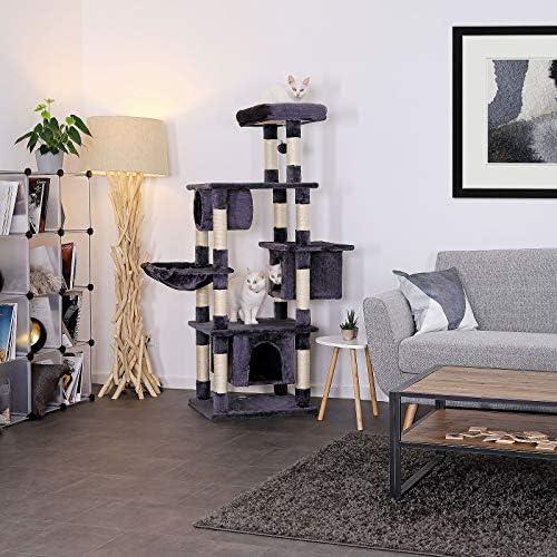 lionto by dibea Arbre à chat arbre à grimper griffoir pour chat hauteur 155 cm gris foncé