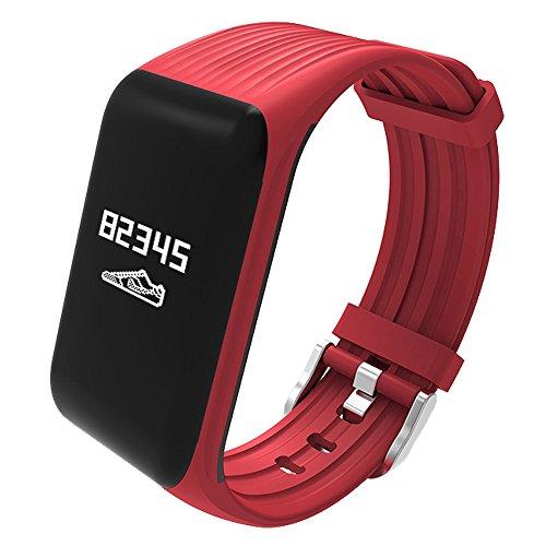 SureShop K1 Orologio Sportivo Pedometro Cardiofrequenzimetro Conta Calorie IP68 App Rosso