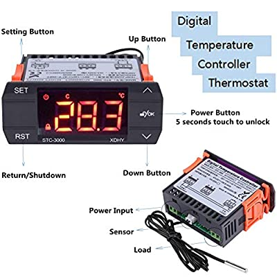Acogedor Temperature Controller, Thermostat 110-240V Digital Temperature Controller, STC-3000 Temperature Controller Thermocouple -55 °C to 120 °C with Sensor(30A)