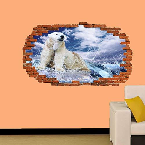 Wandtattoos-3D-POLAR BEAR ON ICE OCEAN SMASHED WALL STICKER RAUM DEKORATION AUFKLEBER MURAL-50x70cm