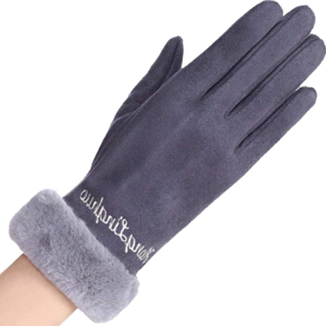 隙間連帯机手袋の女性の暖かいタッチスクリーンの携帯電話春と秋の冬の防風レターレディースウール手袋黒灰色の粉 (色 : Gray)