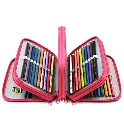 YOUSHARES 72 Slots Pencil Case - Handy Large Capacity Oxford Multi-Layer Zipper Pencil Bag for Color Pen, Colored Pencils, Watercolor Pens, Makeup Brush, Cosmetic Brushes, Gel Pen, etc (Deep Pink)
