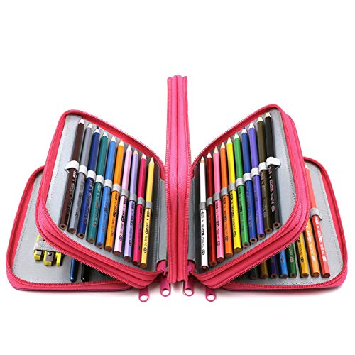 YOUSHARES 72 Slots Pencil Case - Handy Large Capacity Oxford Multi-Layer Zipper Pencil Bag for Color Pen, Colored Pencils, Watercolor Pens, Makeup Brush, Cosmetic Brushes, Gel Pen, etc (Deep Pink)