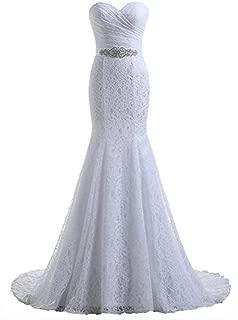 White Women's Lace Mermaid Slim Fit Bridal Wedding Dresses