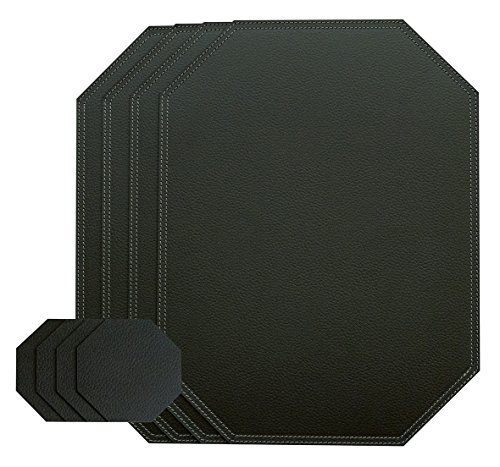 Nikalaz Set of Large Black Octagon Placemats and Coasters, 4 Table Mats and 4 Coasters, Place mats 18'x13 inches, Recycled Leather, Dining Table Set Made in Europe