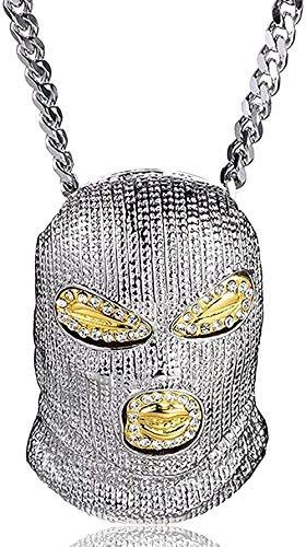 WYDSFWL Collar Estilo Punk Moda Cabeza enmascarada Collares Pendientes Grandes Joyería de Hip Hop Steampunk Cadena Larga de Oro Collar Llamativo Regalos para Mujeres Hombres Collar de Regalo