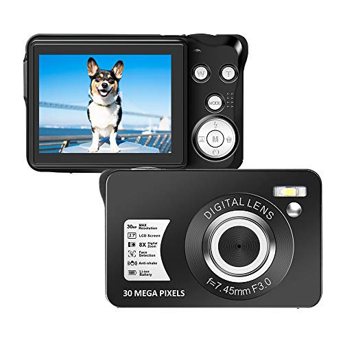 LongOu Digitalkamera 1080P Full HD 30 Megapixel Fotoapparat Digitalkamera 2,7-Zoll-LCD Kompaktkamera Fotokamera mit 8-fachem Zoom für Senioren (Schwarz)