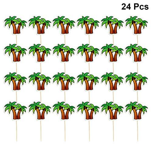 BESTOYARD Kokosnuss-Baum-Kuchen-Topper-Hawaii-Thema-Kuchen-Topper-Kokosnuss-Palm-Papier-Kuchen-Topper-Dekoration für Hawaii Luau Geburtstag Hawaii Baby Shower Party Favors 24-TLG
