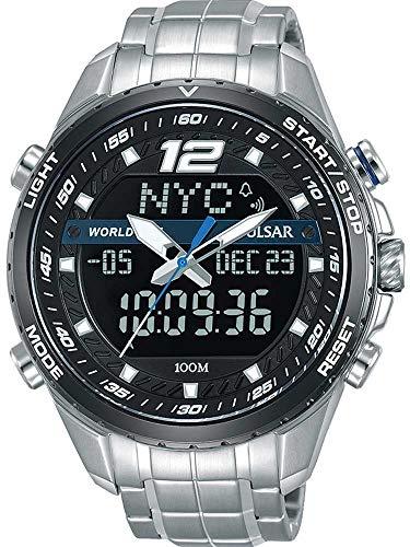 Pulsar Rally Herren-Uhr Chronograph Edelstahl mit Titankarbidlünette und Metallband PZ4027X1