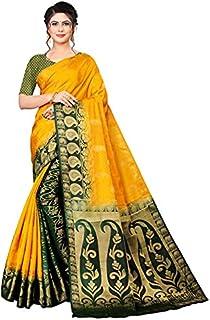 Neerav Exports Banarasi Traditional Jacquard Saree (Yellow)