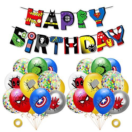 smileh Decorazioni Compleanno di Supereroi Palloncini Supereroi Banner Forniture per Feste a Tema di Supereroi Colorato