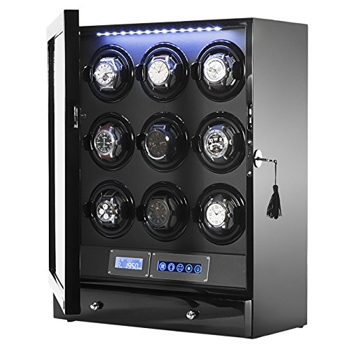 Arcanent 9 + 2 Slot Watch Winder LCD Digital Black Quality Made w/Ball Bearings Japanese Motors with Door Sensor 1