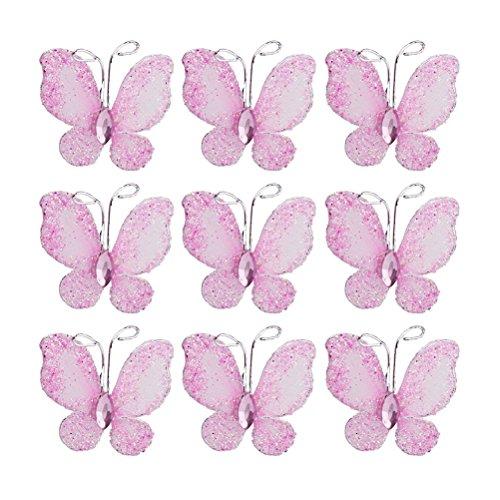 Leorx Farfalla in fine rete metallica, glitterata, con gemma, 50 pezzi, colore: rosa