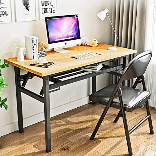 YJHome Tragbarer Zusammenklappbarer Computertisch, Studentenschreibtisch 80 x 40 x 75 cm Keine Montage Erforderlich Brauner Laptop-Klappschreibtisch mit Verstellbaren Beinen für die Heimbüroschule