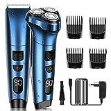 Afeitadora Barba Hombre Maquinas de Afeitar Afeitadora 2 en 1 Afeitado y Corte de Pelo Impermeable Uso en Húmedo y Seco con Pantalla LED de Potencia ELEHOT