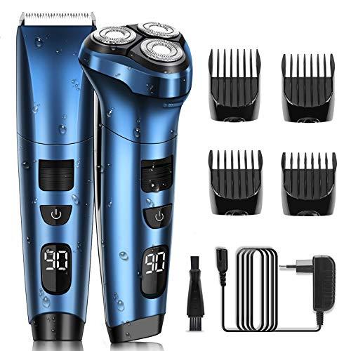 Rasoir Électriques Hommes Rasoir Électrique Rotatif Rechargeable Tondeuse Cheveux Barbe avec LCD ELEHOT (bleu)