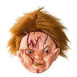 JNKDSGF Máscara de terrorHorror Máscara de Halloween con Cicatriz Ghoulish Face Mask Cosplay Party Halloween Props-White