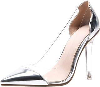 Zanpa Women Fashion Stiletto Heels Pumps Pointed Toe Clear