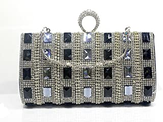 Diamond Ring Finger Yanbao Single Glass Diamond Ceremonial Dress Bride Diamond Handbag Bag,Black Grey