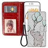 Dewei Wallet Case for iPhone 5C Elephant Balloon Pattern with Kickstand Wrist Strap and Card Slots PU Leather Flip Folio Case for iPhone 5C