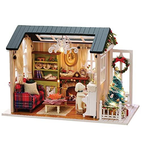 Cornesty Kit de Casa de Muñecas en Miniatura de Navidad DIY Kit de Sala de Casa de Madera 3D Realista Mini con Muebles Luces LED Decoración de Navidad del Día del Niño