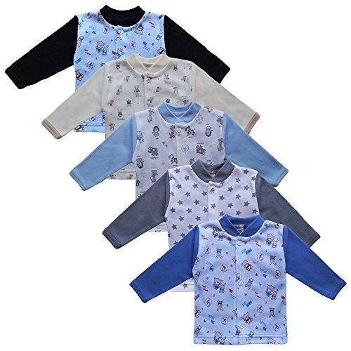 MEA BABY Unisex Baby Jäckchen Langarmshirt 5er Pack. Baby Shirt. Baby Jacke Jungen Baby Jacke Mädchen (62, Jungen)