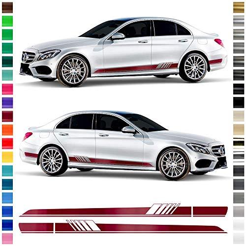 Auto-Dress® Seiten-Streifen Aufkleber Set/Dekor passend für Mercedes C-Klasse W205 S205 in Wunschfarbe - Motiv: AMG (Schwarz-Glanz)