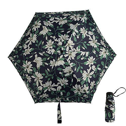 xinrongqu Nuevo Bolsillo Plegable 50 Bolsillo de plástico Paraguas de plástico Negro Paraguas sombrilla portátil Lirio 48.5X6k